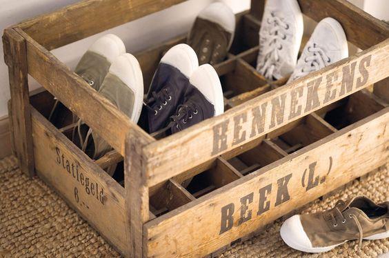 Zapatero cajas madera
