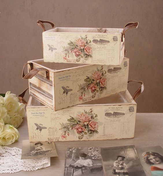 C mo decorar cajas de madera con papel decoupage - Como decorar cajas de madera de fruta ...