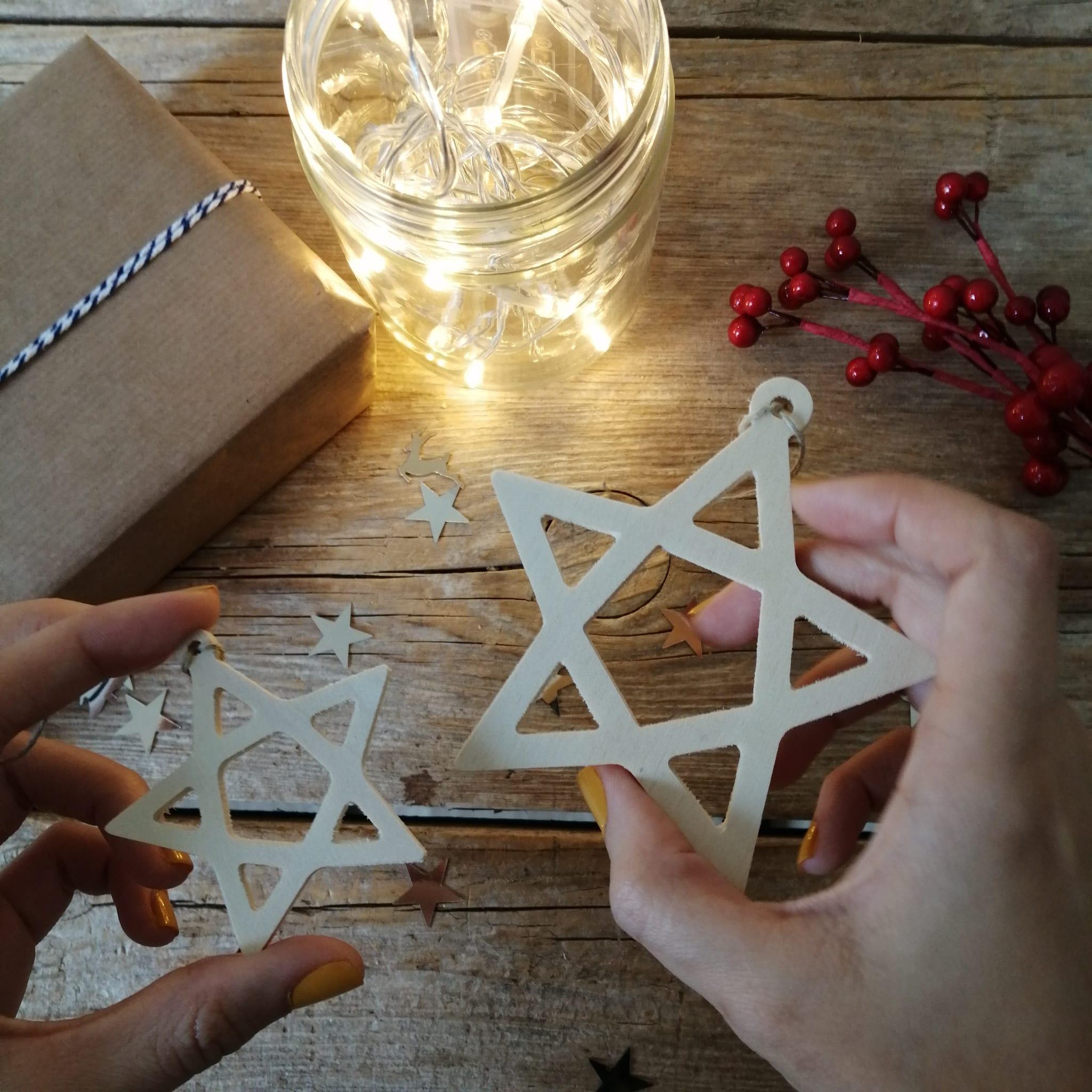 Adornos navidad estrella madera