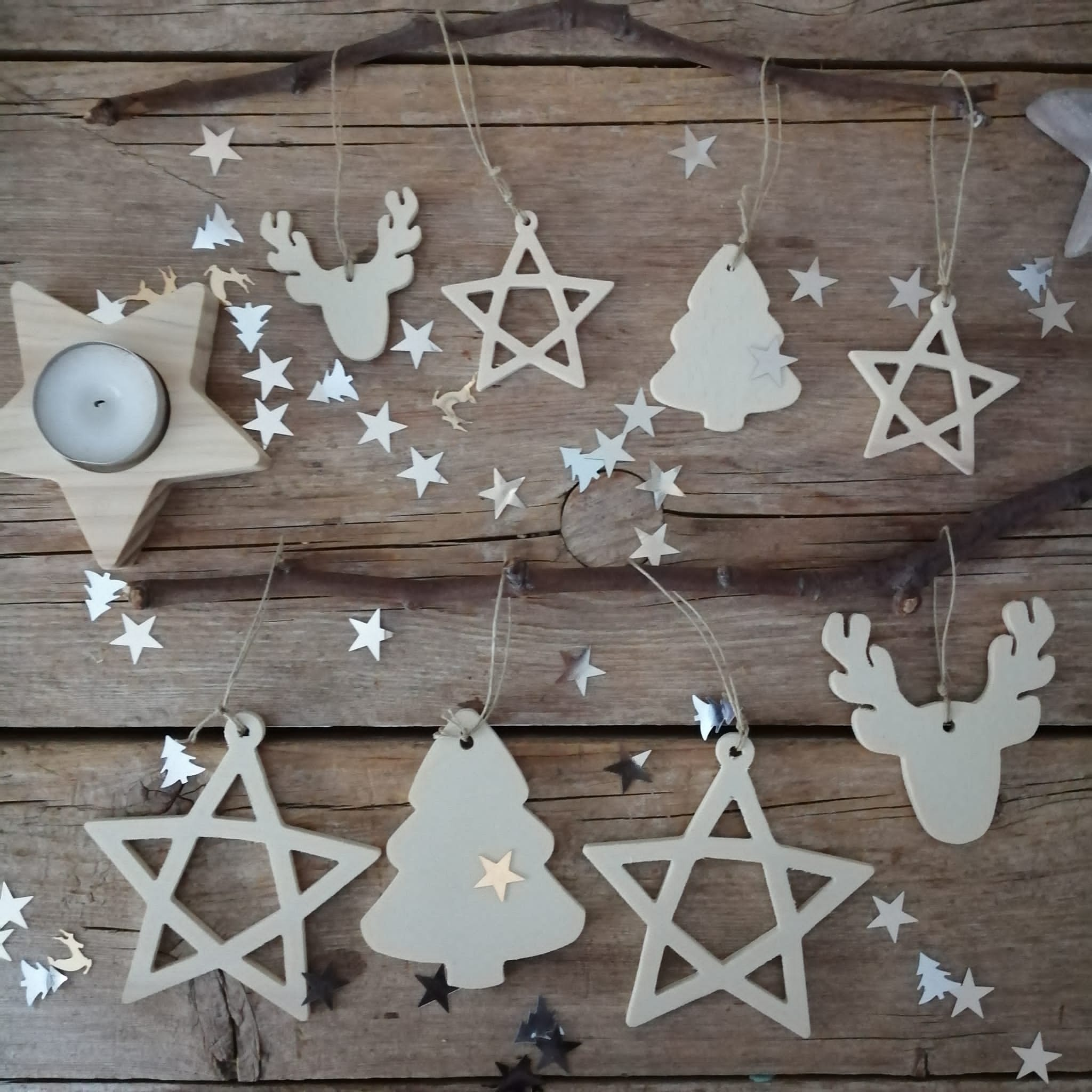 Adornos Navidad de madera