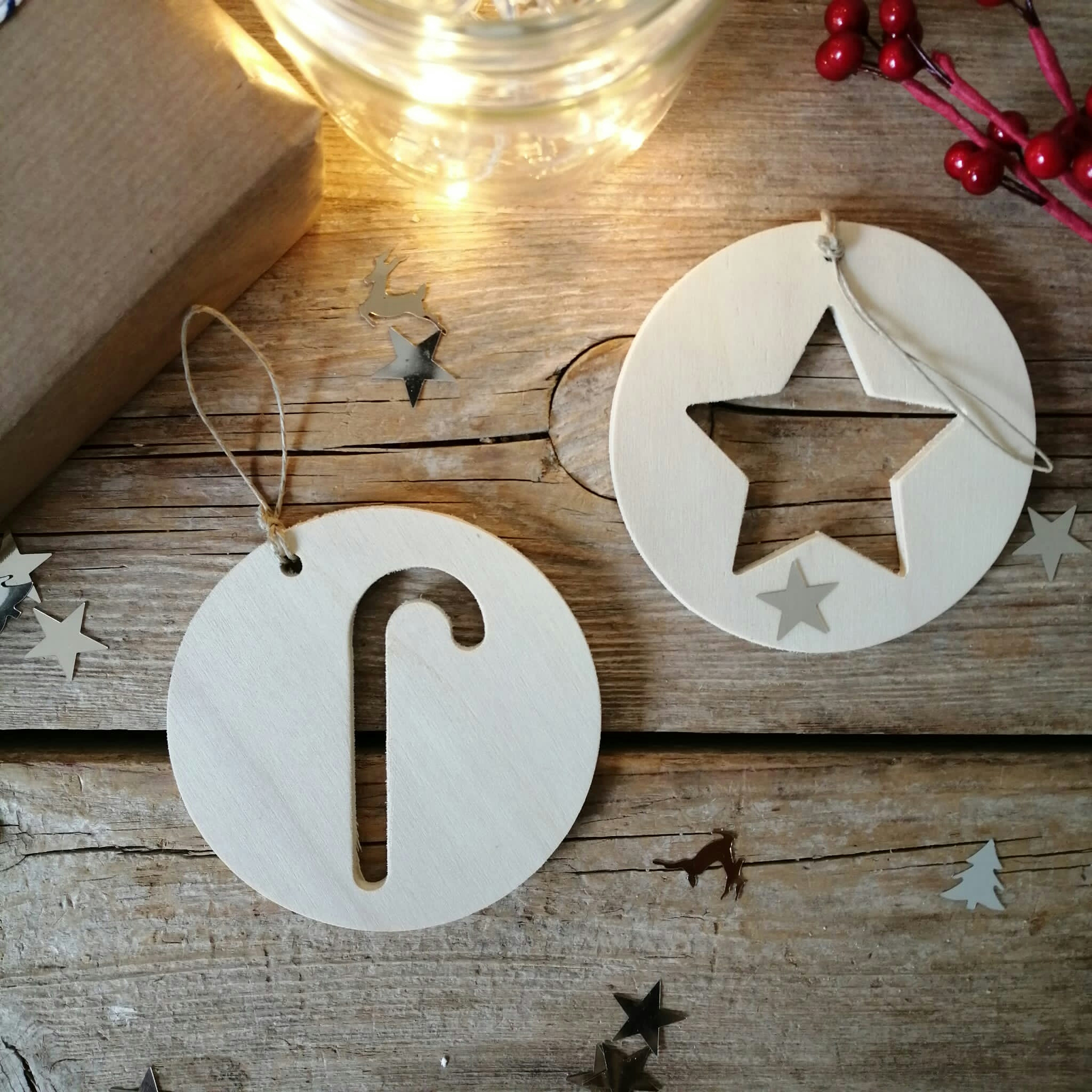 Adornos navideños bolas de madera