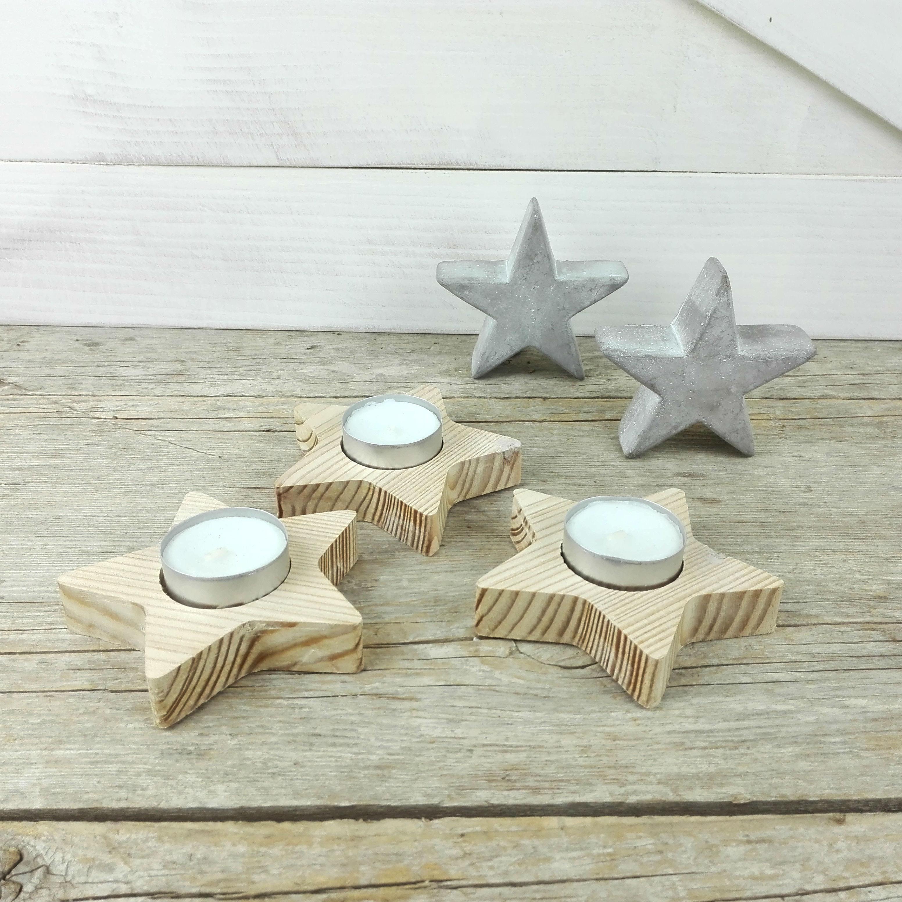 estrellas portavelas madera