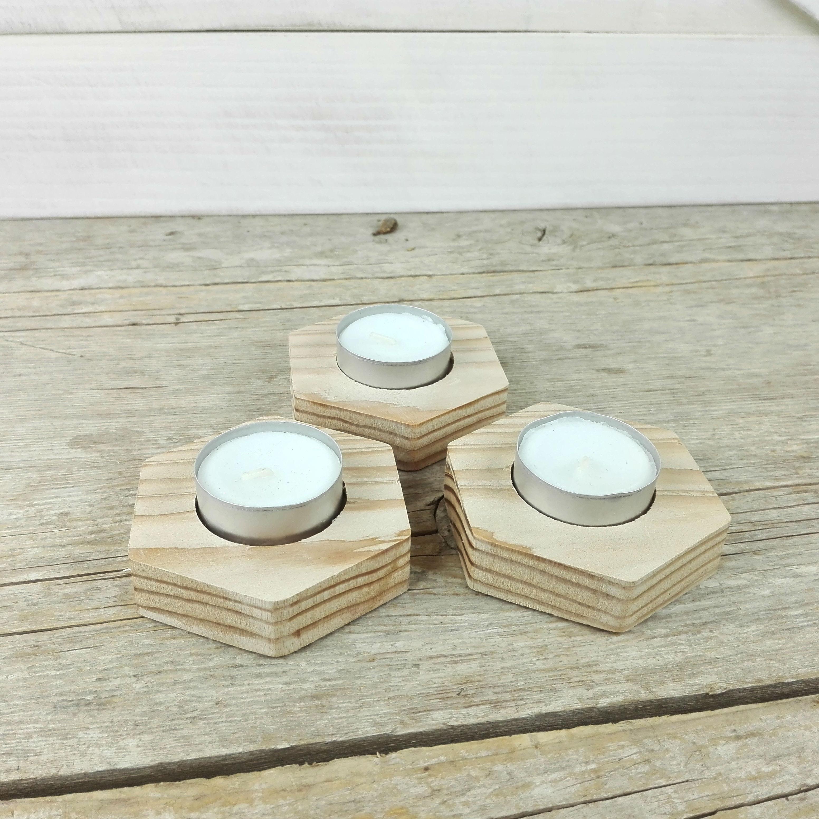 portavelas hexagonales de madera