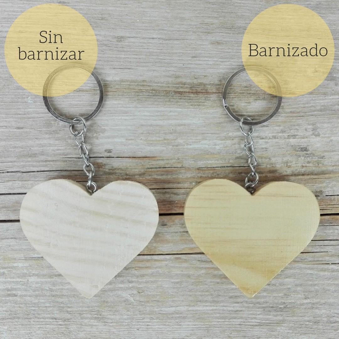 llavero corazón de madera