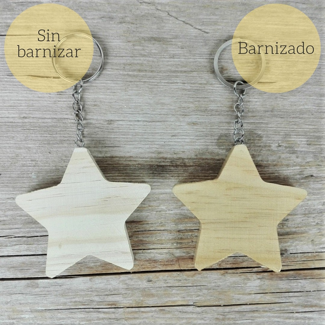 llavero estrella de madera