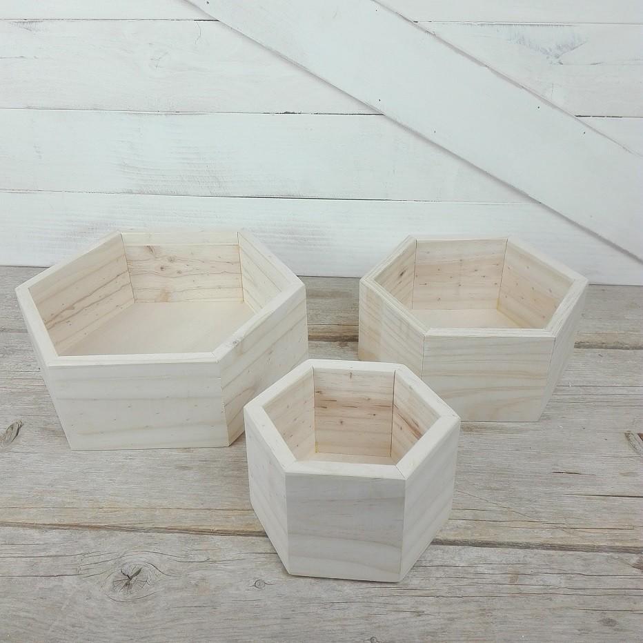 caja hexagonal madera