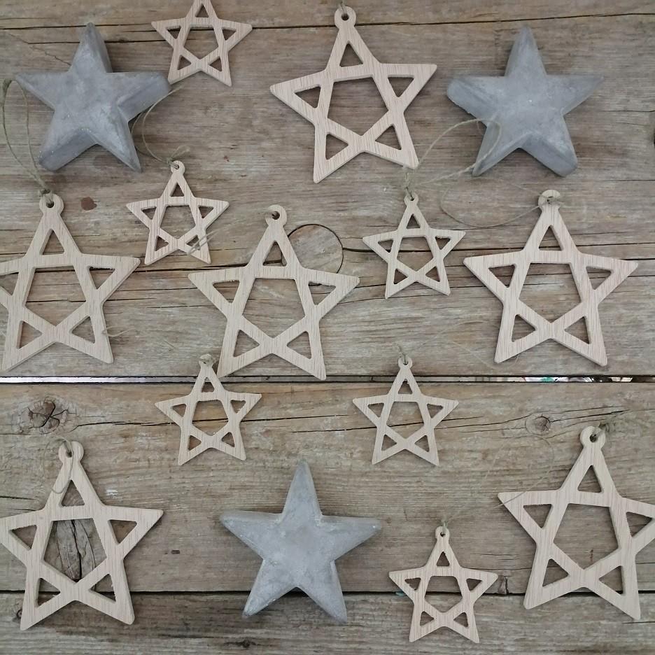 Adornos árbol Navidad - Estrellas de madera (6 unidades)