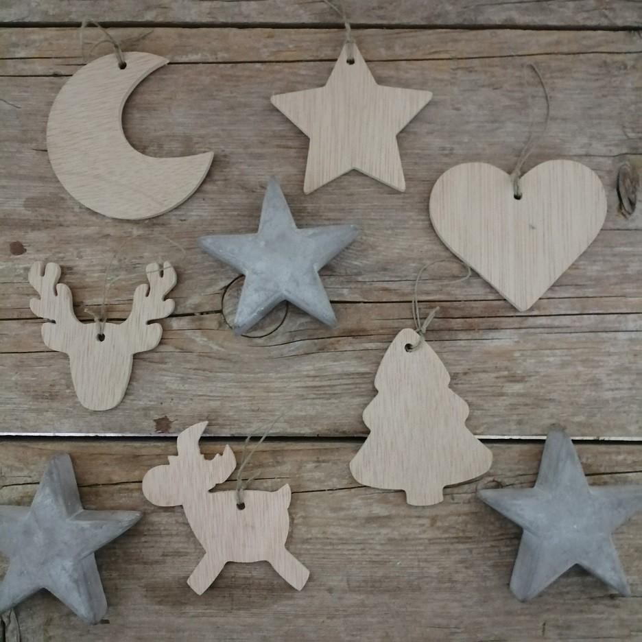 Adornos árbol Navidad - Figuras de madera (6 unidades)