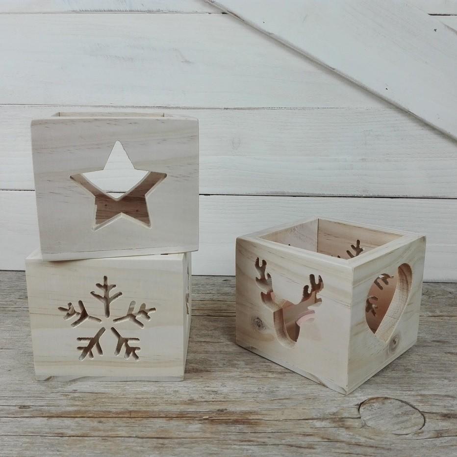 portavelas navideño de madera