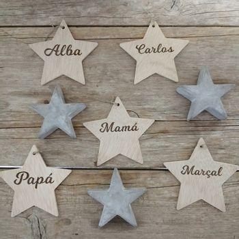 adornos de navidad estrellas de madera