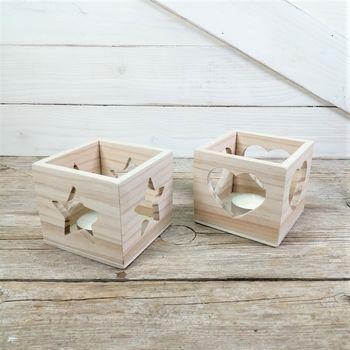 portavelas de madera cubo